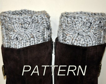 Boot Cuffs Socks Leg Warmers Boot Tops PDF PATTERN DIY Grey Marble Gray Cozy Forest Nature Knitt Cabled