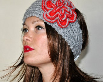 Crochet HEADBAND Ohio State Ear warmer Buckeyes CHOOSE COLOR Gray Scarlet Red Crochet Flower  Hat Girly Romantic Gift Valentine's Day Gift