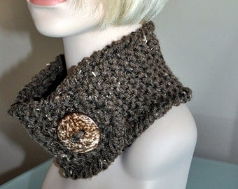 Neckwarmer Cowl Button Scarf CHOOSE COLOR Barley Brown Marble Acorn Eco Neutral Coconut Scarflette Necklette Valentines day gift under 25