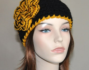 Crochet Flower Headband Knit Steelers  Ear Warmer CHOOSE COLOR  Crochet Flower Button  Black Yellow University of Iowa Hair Band