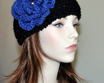Black Crochet Headband CHOOSE COLOR Crystal Blue Flower Knitted Ear Warmer Hat head bands Hair Coverings Head Warmer Gift under 50