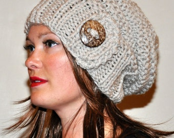 Slouchy Hat Slouch Beanie Button Hand Knit Adult Teen Winter Tam CHOOSE COLOR Beige Linen Nature Forest Earth Neutral Chunky Gift under 50