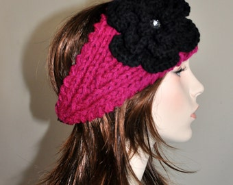 Crochet Headband Flower Ear warmer head wrap CHOOSE COLOR Cozy Magenta Pink Red Black Crystal Crochet Flower Hat Girly Valentines day gift