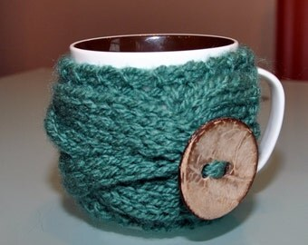 Mug Cozy Coffee Cozy CHOOSE COLOR Green Tea Cup Sleeve Forest  Garden Nature Gift Coconut Button Mothers Day Gift