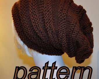 Slouch Beanie Slouchy Hat PDF PATTERN DIY Hand Knit Winter Adult Teen Brown Chocolate Dark Nature Forest Earth Neutral Baggy