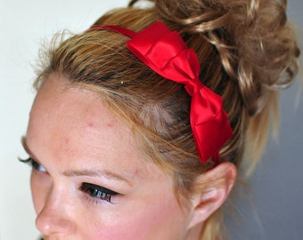 Gossip Girl Blair Waldorf inspired Bow Headband Red Headwrap CHOOSE COLOR Red Bow Headband Scarlet Girly Cute Gift under 10