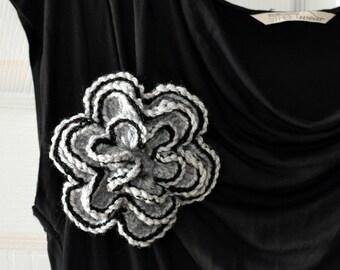 Mother's Day Gift Crochet Flower Pin Large Flower Brooch  Gray Grey Black Big Flower Crocheted Knit Romantic