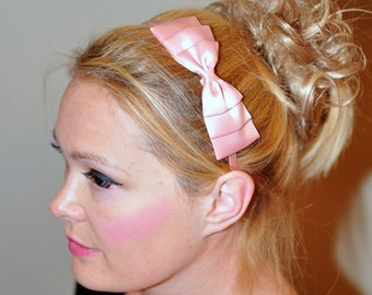 Bow Headband Headwrap CHOOSE COLOR Pink Bow Headband Pink Girly Cute Mothers Day Gift under 10