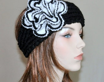 Ear warmer Headband Flower Headwrap  Black White