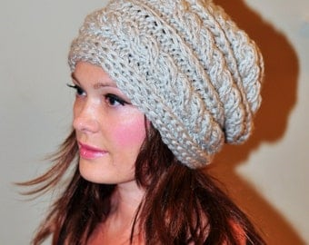 Slouch Beanie Slouchy Hat Cabled Hand Knit Winter Wool Adult Teen CHOOSE COLOR Linen Beige Nature Chunky Gift under 50