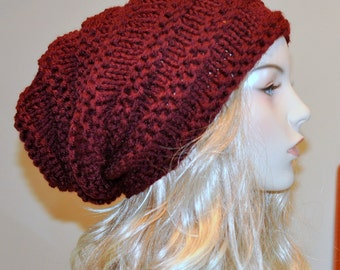 Slouchy Hat women hat Slouch Beanie Baggy Hat Knit  Winter Adult CHOOSE COLOR Burgundy Red Wine Cherry Cranberry Chunky Gift under 50
