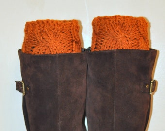 Boot Cuffs Socks Brick Pumpkin Orange Spice Fall Autumn Leg Warmers Cabled Cozy Knit Christmas Gift