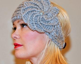 Crochet Spiral Flower Crystal Headband Ear warmer CHOOSE COLOR Gray Knit Earwarmer Knitted gifts under 50 Girly Hat Head wrap