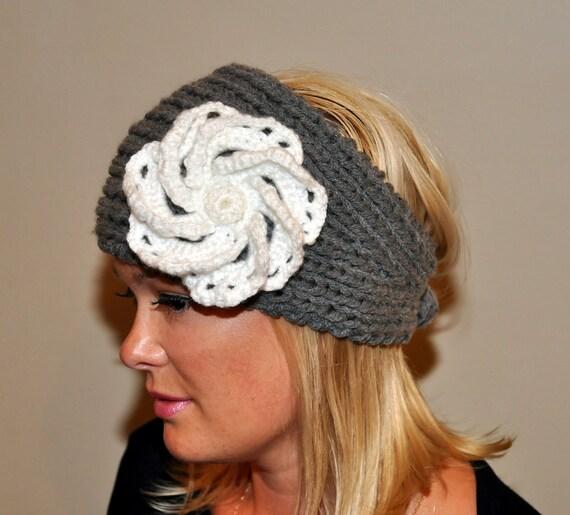 Crochet HEADBAND Ear warmer Headwrap  Cozy Gray White Flower hat Silver Ash Cloud Earth Neutral Girly Romantic Gift