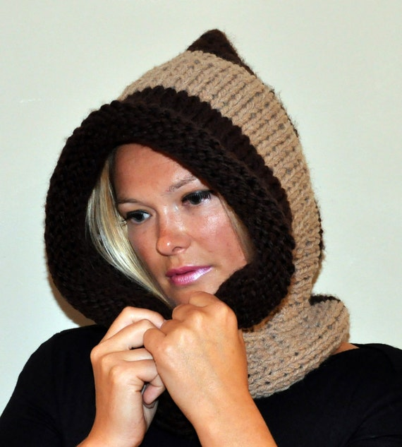 Hooded Cowl Knit Hood Pixie Hat Scarf Cowl Neckwarmer Scoodie Unisex Teen Brown  Chocolate Natural Fashion Warm