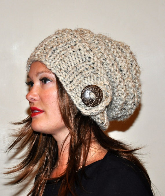 Knitting Hat For Women : Slouchy hat beanie women button hand knit