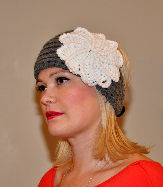 Crochet Spiral Flower Headband Ear warmer CHOOSE COLOR Gray White Knit Knitted gifts under 50 Girly Hat Head wrap