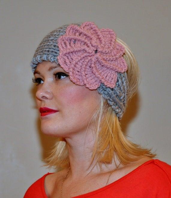 Crochet HEADBAND Earwarmer Headwrap CHOOSE COLOR Warm Cozy Gray Pink Flower Hat Twilight Boho Silver Cloud Girly Romantic Gift under 50