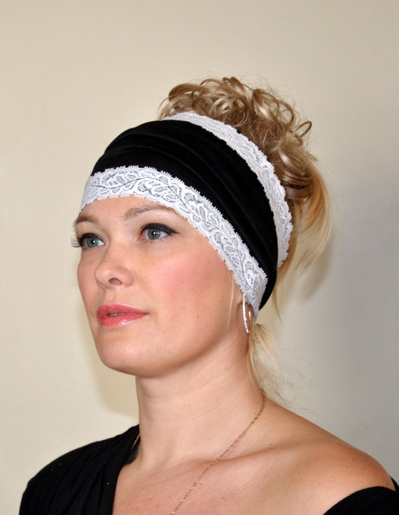 Headband Lace Jersey Stretch CHOOSE COLOR Jersey Knit Yoga Bandana Wide hair wrap fashion turban black Easter Gift Mothers Day