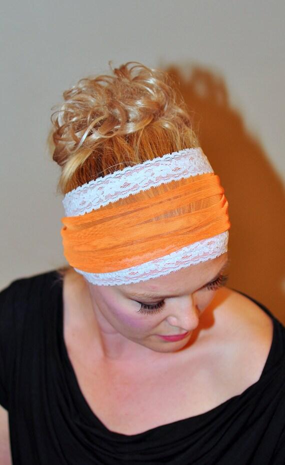 Mesh Headband Head wrap Stretch Womens Orange White headband Lace Hair Scarf Wide Laces headwrap Girly Gift under 20