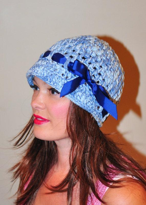 Brim Hat Brimmed Beanie Newsboy Bow Cap Crochet 100% Cotton Women Blue White Sky Satin Ribbon Girly Gift under 40