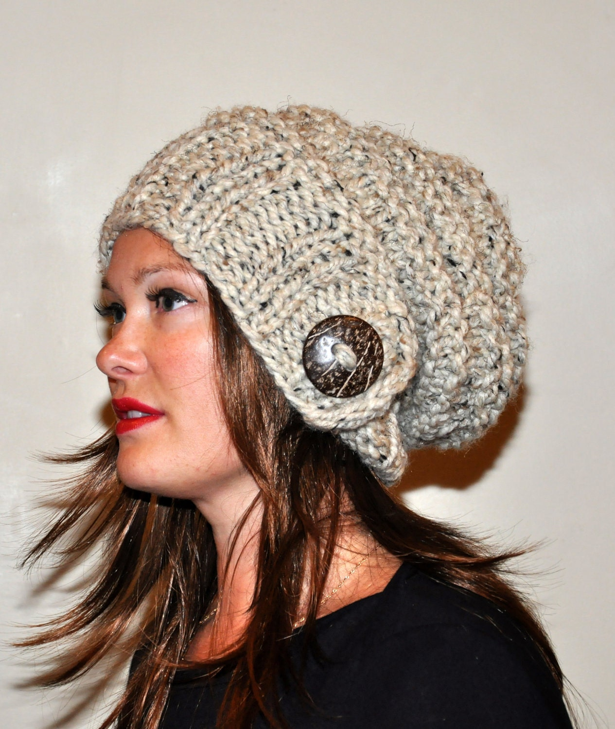 slouchy beanie slouchy hat button knit winter