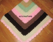 Crochet Baby Blanket Pink Brown Cream Green For Girls Scallop Edge Pretty Photo Prop Ready To Ship