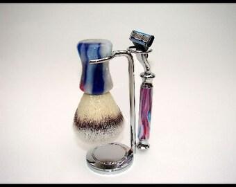 Patriotic Swirl Shaving Set - Brush and Mach 3 Razor - Shaving Kit - Unique Gift