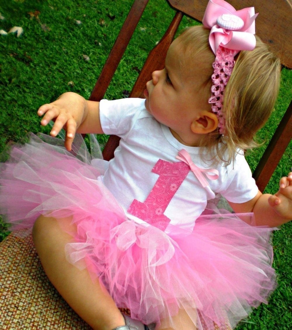 Baby Girl Pink 1st Birthday Tutu Set With Headband And Flower