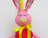 Yellow Easter Candle Pink Rabbit  Bunny Doll Red Dress Ornament Baby Girl Room Decor