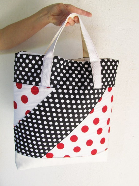 Large Tote Bag for the Beach, Market or Park Laptop bag Summer tote red white polka dots