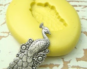 Peacock  - Flexible Silicone Mold - Push Mold, Jewelry Mold, Polymer Clay Mold, Resin Mold, Craft Mold, PMC Mold