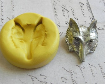 FOX HEAD - Handmade Flexible Silicone Mold - Jewelry Mold, Resin Mold, PMC Mold, Polymer Clay Mold, Push Mold
