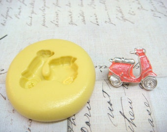 SCOOTER / VESPA - Flexible Silicone Mold - Push Mold, Jewelry Mold, Polymer Clay Mold, Resin Mold, Craft Mold, Food Mold, PMC Mold