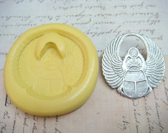SCARAB BEETLE with WINGS - Flexible Silicone Mold - Push Mold, Jewelry Mold, Polymer Clay Mold, Resin Mold, Craft Mold