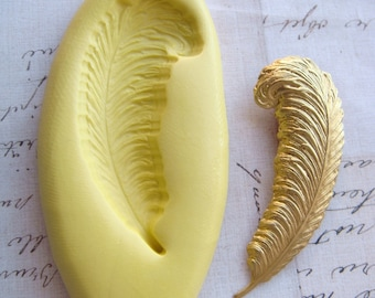 FEATHER / QUILL - Flexible Silicone Mold - Push Mold, Jewelry Mold, Polymer Clay Mold, Resin Mold, Craft Mold, Food Mold, PMC Mold