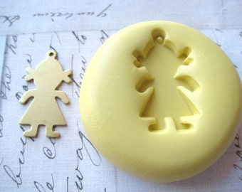 GIRL (with bail) - Flexible Silicone Mold - Push Mold, Jewelry Mold, Polymer Clay Mold, Resin Mold, Craft Mold, Food Mold, PMC Mold
