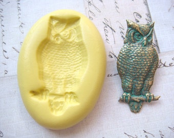 OWL on BRANCH - Flexible Silicone Mold - Push Mold, Polymer Clay Mold, Pmc Mold, Crafting Mold, Resin Mold