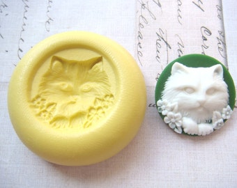 CAT FACE with Flowers - Flexible Silicone Mold - Push Mold, Polymer Clay Mold, Resin Mold, Pmc Mold, Crafting mold