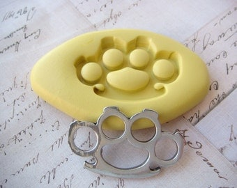 BRASS KNUCKLES - Flexible Silicone Mold -  Push Mold, Jewelry Mold, Polymer Clay Mold, Resin Mold, Craft Mold, PMC Mold