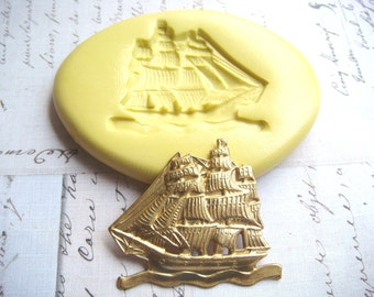 PIRATE SHIP - Flexible Silicone Mold - Push Mold, Polymer Clay Mold, Resin Mold, Pmc Mold, Crafting Mold