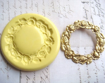 ROUND WREATH - Roses - Flexible Silicone Mold -  Push Mold, Polymer Clay Mold, Resin Mold, Ice Mold, Pmc Mold, Clay Mold