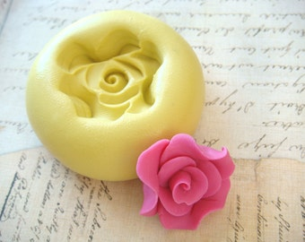 Rose Flower design 4 - Flexible Silicone Mold - Push Mold, Jewelry Mold, Polymer Clay Mold, Resin Mold, Craft Mold, Food Mold, PMC Mold