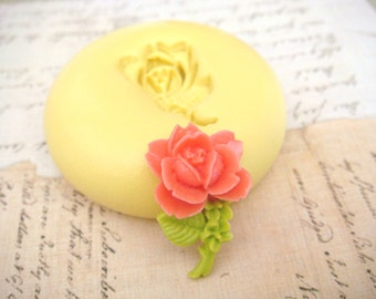 Tiny Rose on a Stem  - Flexible Silicone Mold - Push Mold, Jewelry Mold, Polymer Clay Mold, Resin Mold, Craft Mold, Food Mold, PMC Mold
