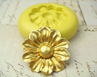 Wildflower - Flexible Silicone Mold - Push Mold, Jewelry Mold, Polymer Clay Mold, Resin Mold, Craft Mold, PMC Mold