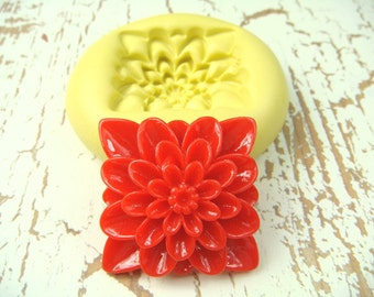Square Flower Design - Flexible Silicone Mold - Push Mold, Jewelry Mold, Polymer Clay Mold, Resin Mold, Craft Mold, Food Mold, PMC Mold