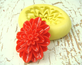 Oval Flower Design - Flexible Silicone Mold - Push Mold, Jewelry Mold, Polymer Clay Mold, Resin Mold, Craft Mold, Food Mold, PMC Mold