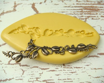 Vine with leaves -  Flexible Silicone Mold -  Push Mold, Jewelry Mold, Polymer Clay Mold, Resin Mold, Craft Mold, Food Mold, PMC Mold