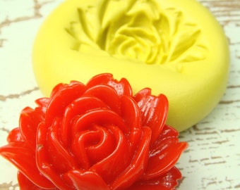Victorian Rose Blossom - Flexible Silicone Mold - Jewelry Mold, Polymer Clay Mold, Resin Mold, Craft Mold, PMC Mold