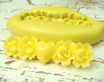 Rose Bar with Heart - Flexible Silicone Mold - Jewelry Mold, Polymer Clay Mold, Resin Mold, Craft Mold, PMC Mold